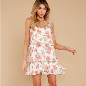 NWT pink floral ruffle tiered dress